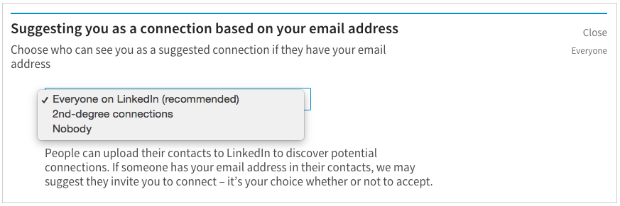 Linkedin desktop settings example