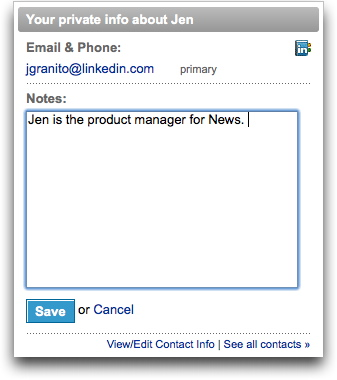 LinkedIn's Address Book Information viewed through a profile