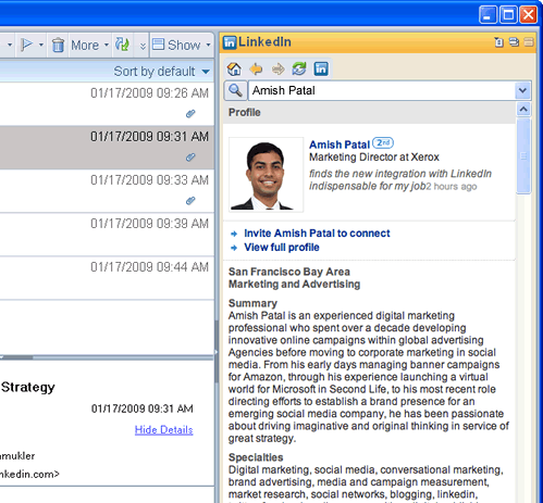 LinkedIn Widget for Lotus Notes