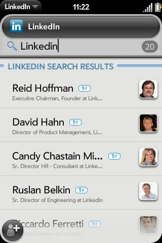 New Palm Pre (Synergy) LinkedIn app