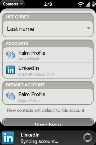 LinkedIn App Palm Pre Application Synergy
