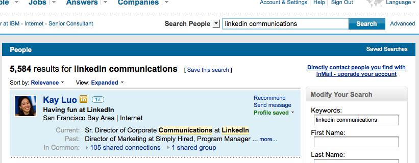 LinkedIn's Profile Organizer in search results' mini-profiles