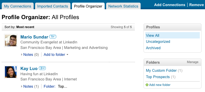 Profile Organizer Workspace on LinkedIn