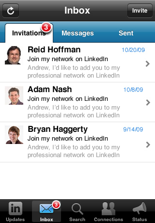 LinkedIn Inbox invitations (iPhone App v1.5)