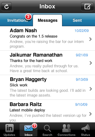 LinkedIn Messages Tab (iPhone App v1.5)