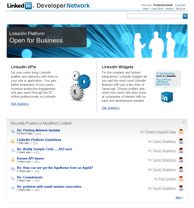 LinkedIn launches the LinkedIn Developer Network Site