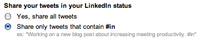 Share tweets as your LinkedIn status