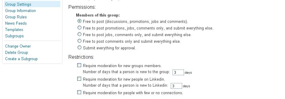 LinkedIn Groups Permissions and Restrictions