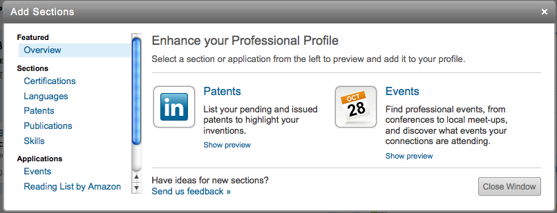 Add Sections to your LinkedIn profile