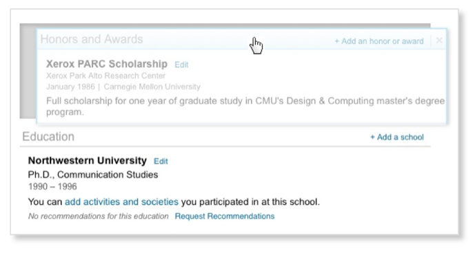 introducing new profile sections designed for students