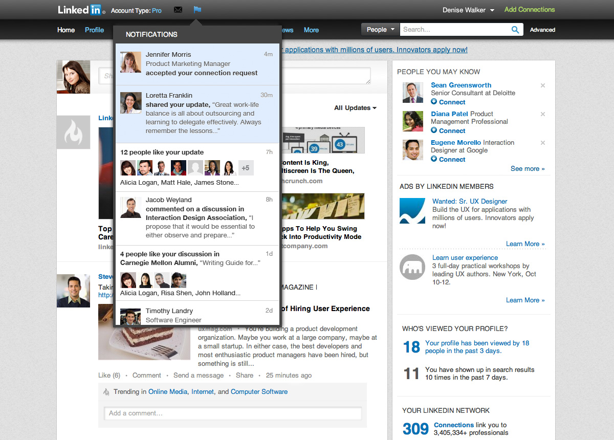Alsoing Soon, Linkedin Notifications