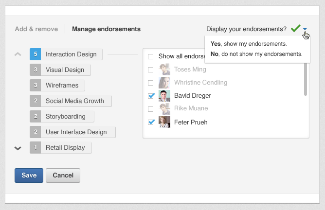 Manage Endorsements Screenshot