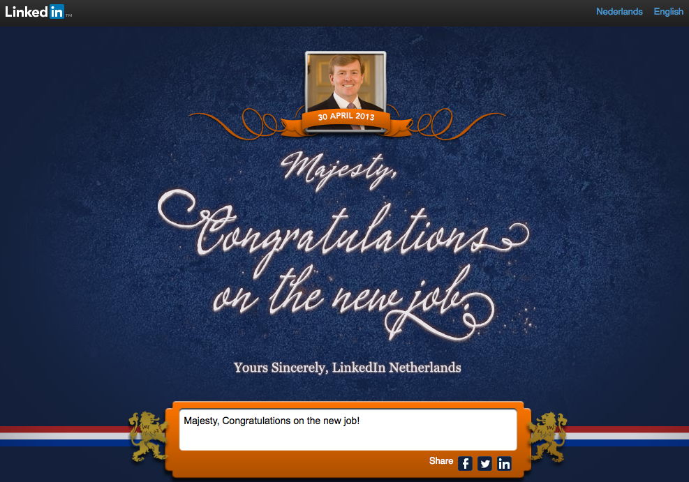 Congratulate Netherlands King