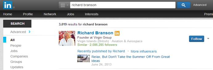 Search Influencers Screenshot