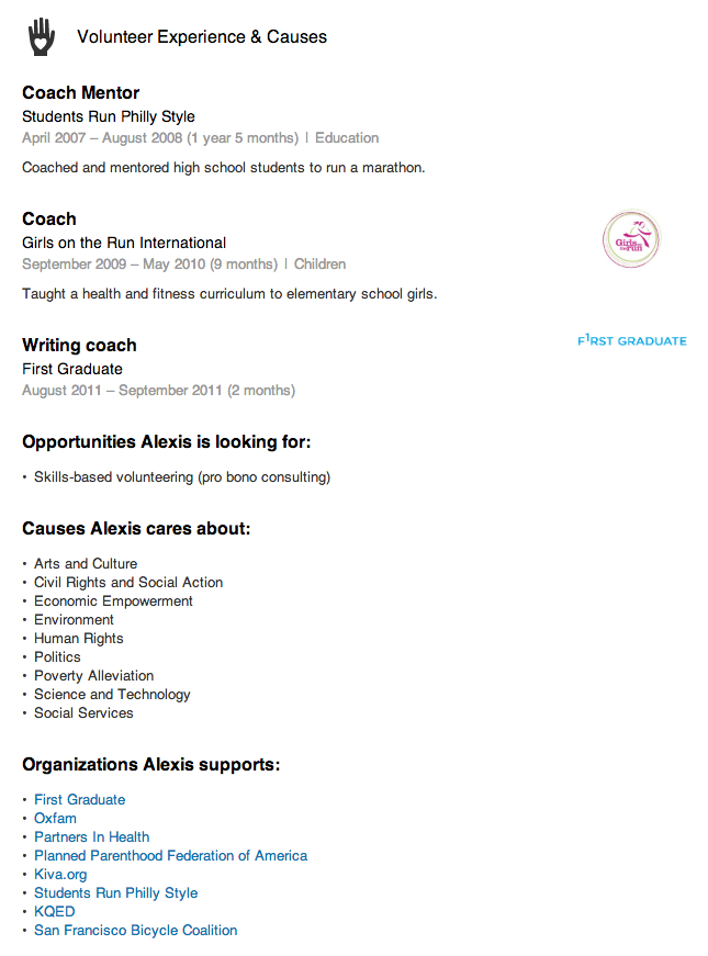 Volunteer Experience And Causes Section  Volunteer Work In Resume