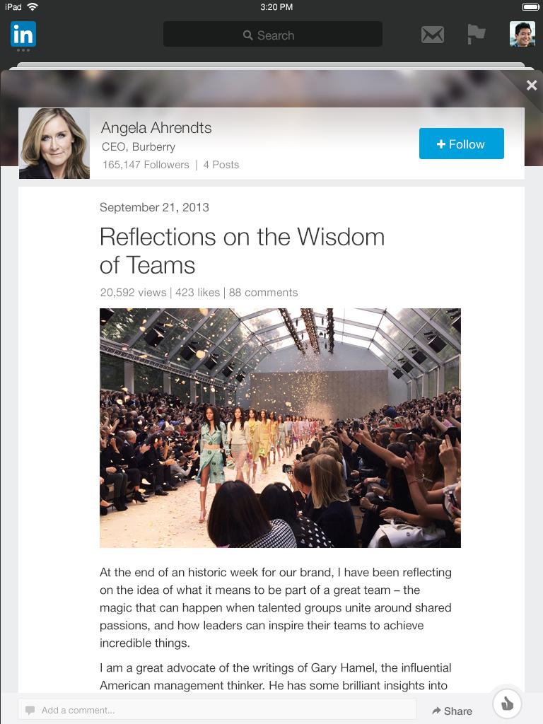 Angela Ahrendts iPad