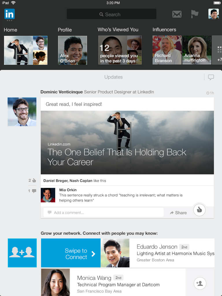 LinkedIn for iPad homescreen