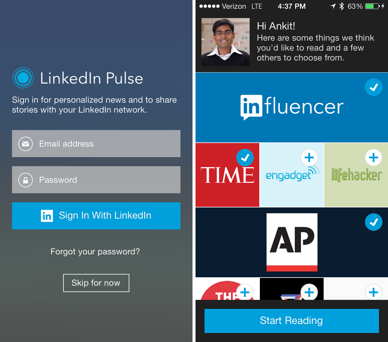 Pulse Login with LinkedIn