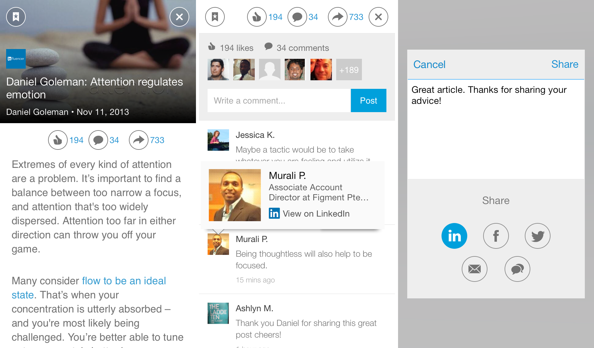 Sharing LinkedIn Pulse with your network