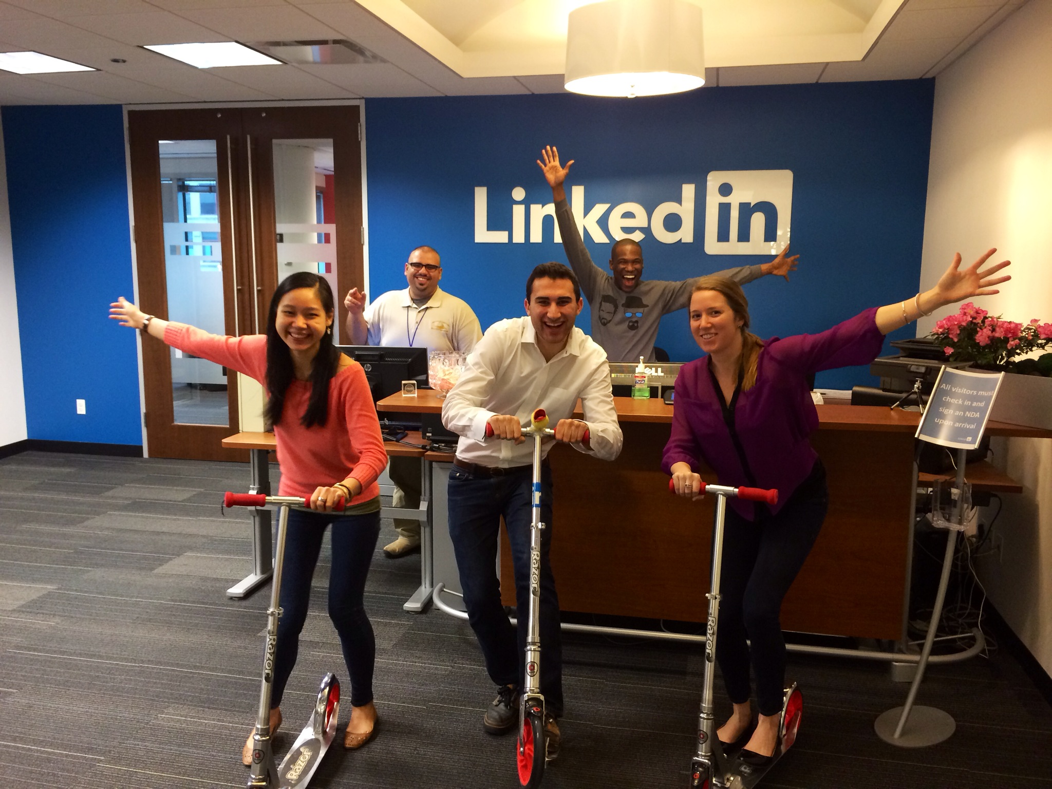 linkedin employees on scooters