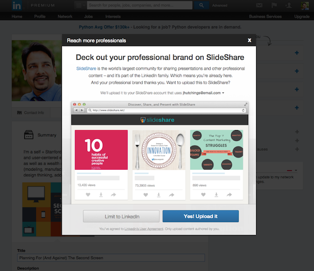 Extend Your Professional Brand to SlideShare with One Click