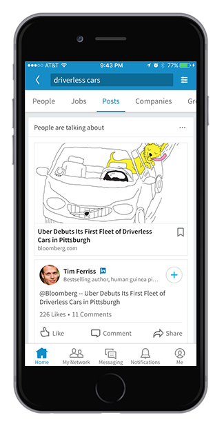 LinkedIn's new content search update