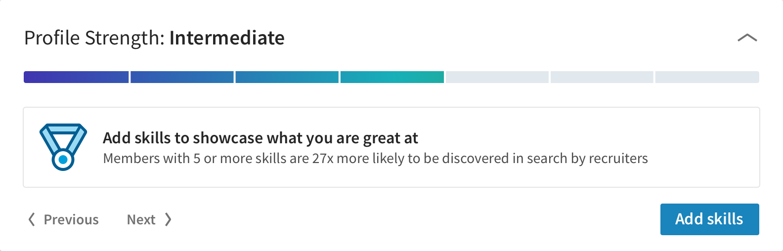 LinkedIn onboarding user profile strength meter