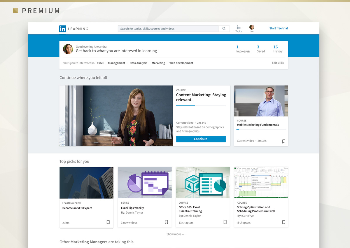 Premium subscribers get access to thousands of courses via LinkedIn Learning