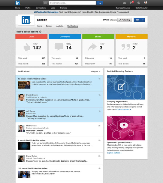 LinkedIn Enhances Company Pages With New Notification