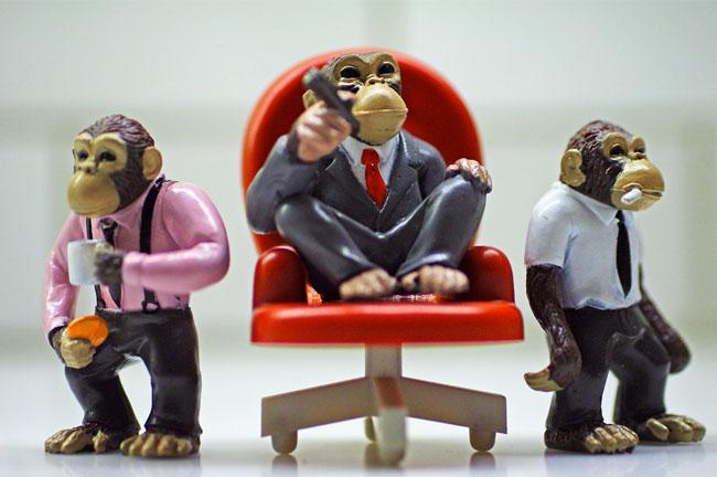 Monkey Figurines in Business Attire