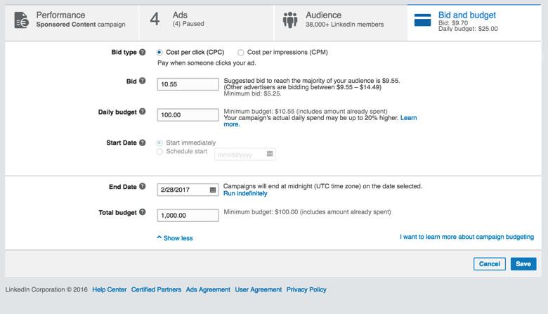 Linkedin Advertising 101 Bidding Linkedin Marketing Blog