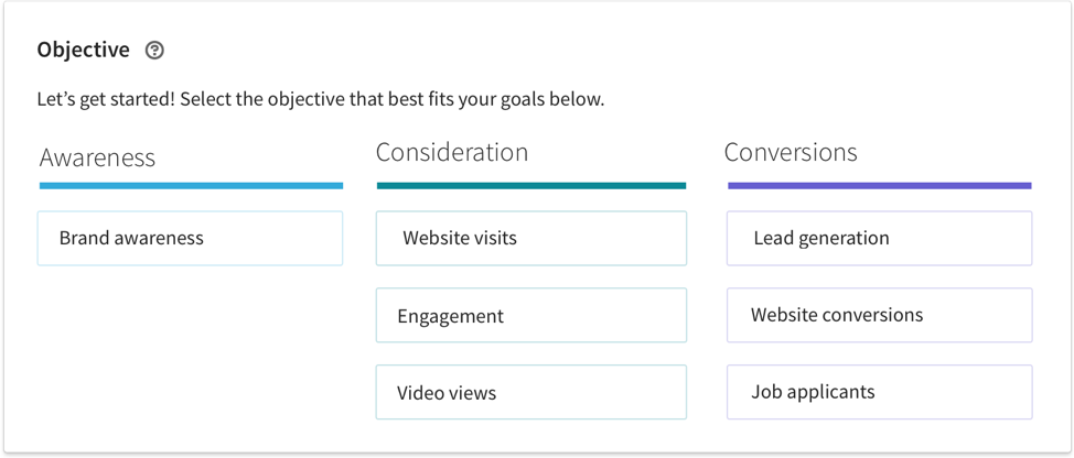 linkedin ad campaigns - objectives