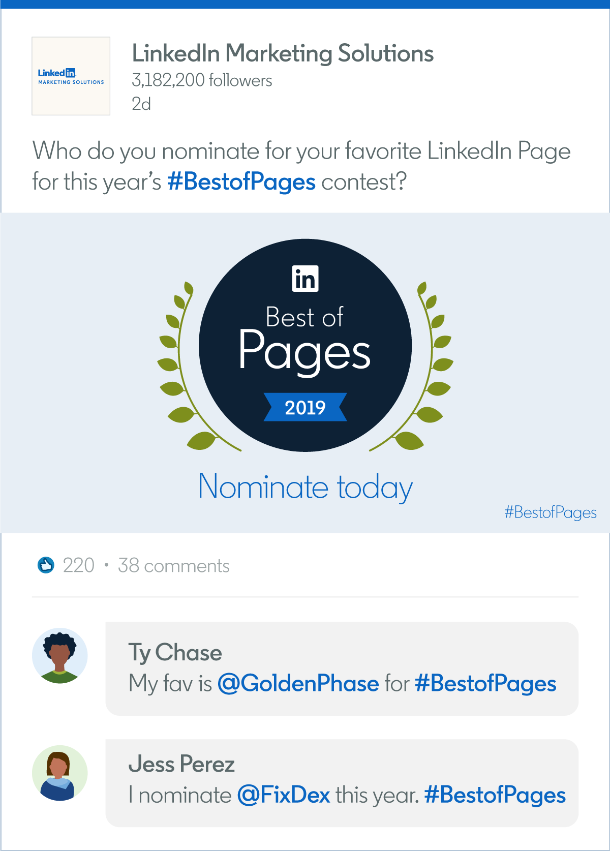 Submit Your Nominations For Best Of Linkedin Pages 2019