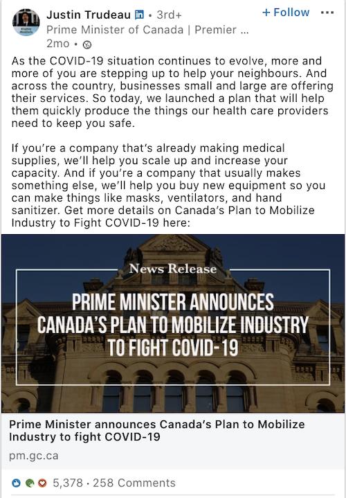 Justin Trudeau LinkedIn Post