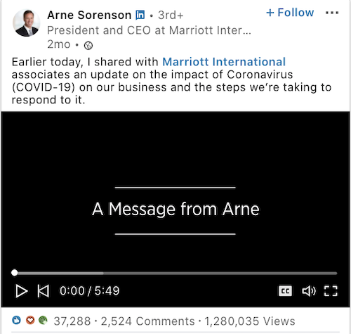 Marriot International LinkedIn post