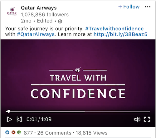 Qatar Airways LinkedIn Post