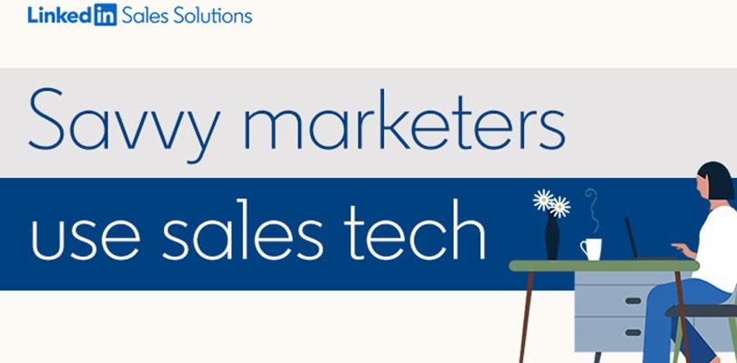 Savvy marketers use sales tech illustration