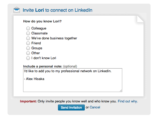 Social selling how to create linkedin invitations that get accepted screen shot 2014 05 22 at 111245 am stopboris Images