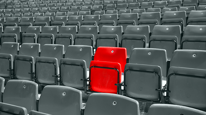 One Red Seat in Stadium of Black and White Seats