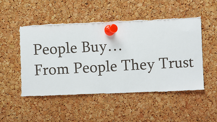 Typed Note Reading People Buy From People They Trust