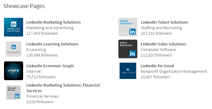 linkedin-showcase-page