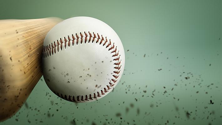 Bat Hitting Baseball