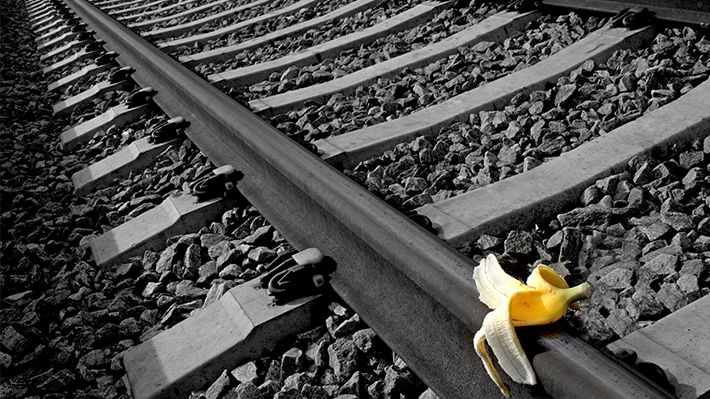 Banana Peel on Railroad Tracks