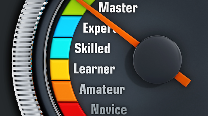 Needle Pointing to Master on an Experience Levels Meter