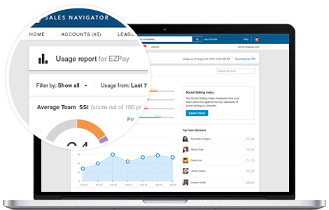 linkedin sales navigator usage reporting