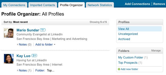 Profile Organizer Tab