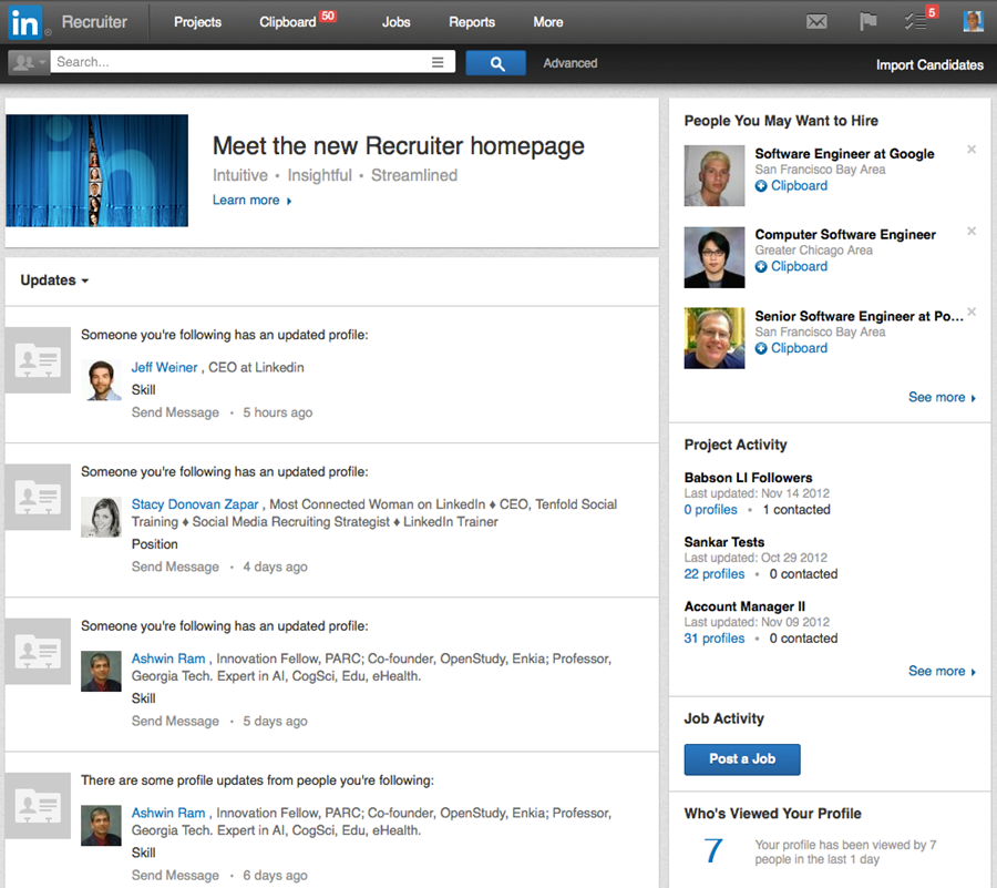 Meet the New Recruiter Homepage, Redesigned to Make You Even More ...