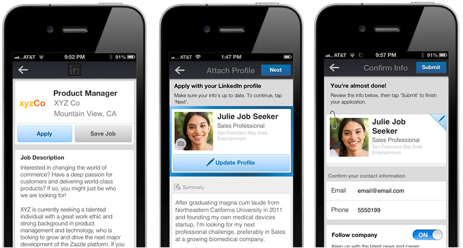 LinkedIn Apply for Jobs on Mobile