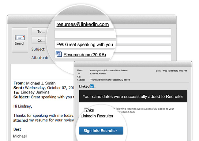 Adding Resumes To Recruiter Now As Easy As Sending An Email