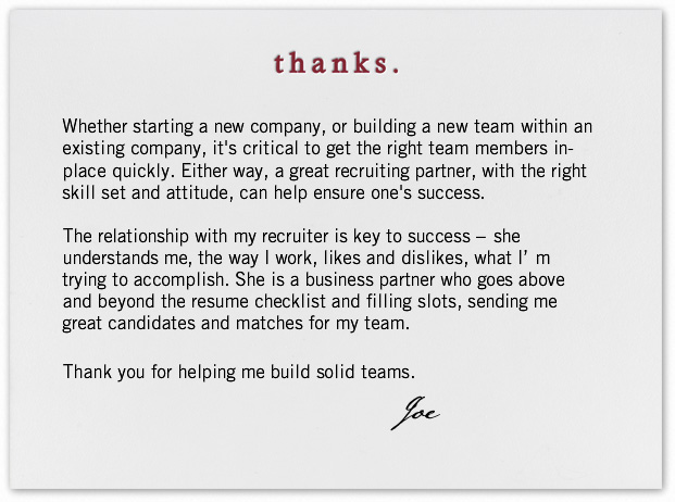 how to write a thank you to a recruiter